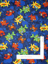 Fish Lobster Goggles Bubbles Blue Cotton Fabric Timeless Treasures C3940 By Yard