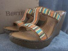 BORN B67108 Lio Orange Aztec Platform Wedge Sandals Shoes US 9 M EUR 40.5 NWB