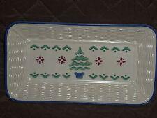 """Pfaltzgraff Nordic Christmas 12"""" Bread Basket Plate Christmas Tree EC"""