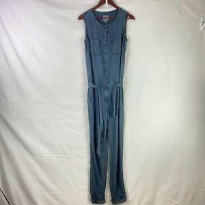 Esprit Denim Makers Size XS Womens Blue Jumpsuit Button Front Belted One Piece