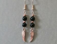 Black Agate & Rose Gold Plated Wing Dangle/Drop Earrings Stunning!!!