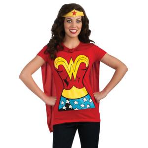 Wonder Woman Womens T-Shirt Costume Kit Shirt Crown Cape Adult Superhero
