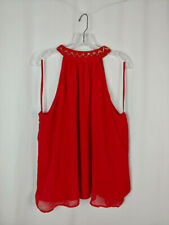 Eva Mendes New York & Company 18 NEW Red Embellished Sleeveless Top