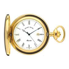 Reloj De Bolsillo Cuarzo Calendario Cazador Chapado en oro por el monte Royal Modelo no. B23