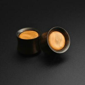 Wooden Ear Gauges Plugs Areng Wood Double Flare Plug With Olive Wood Inlay