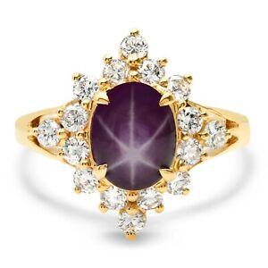 Star Ruby Diamond Ring 14K Yellow Gold Natural Handmade 3.33TCW 6 Star Asterism