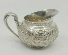 Sterling Silver Repousse Creamer Gorham 1880 Retailed by Hennegen & Bates