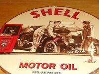 """VINTAGE 1939 """"SHELL MOTOR OIL CAR & WOMAN"""" 11 3/4"""" PORCELAIN METAL GASOLINE SIGN"""