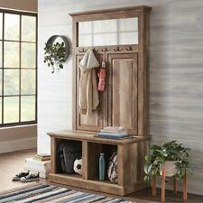 Rustic Brown Wooden Hall Tree Mirror Storage Stand Bench Coat Rack Hat Hooks