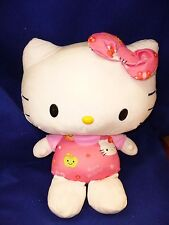 "HELLO KITTY 18"" BIG SANRIO 2011 STUFFED ANIMAL PLUSH TOY PINK FLOWERS BUTTERFLY"