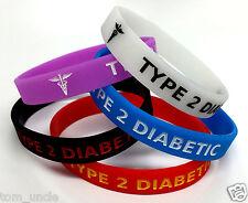 5x TYPE 2 DIABETIC diabetes Wristband MEDICAL ALERT BRACELET - glow in the dark