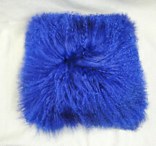 Blue Mongolian Lamb Wool Cushion Cover Curly Fur Pillowcase 40x40cm High-grade