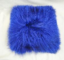 Blue Mongolian Lamb Wool Cushion Cover Curly Fur Pillowcase 40X40cm High-grade