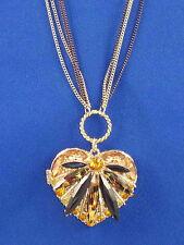 Betsey Johnson Gold HOLLYWOOD GLAM Leopard Heart Locket Multi Strand Necklace