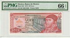 Mexico 1973 20 Pesos PMG Certified Banknote UNC 66 EPQ Gem Pick 64b