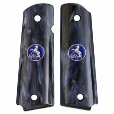 AJAX Grips for 1911 Compact Officers Black Pearlite w/ BLUE COLT LOGO COINS
