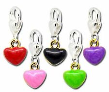 ENAMEL HEART CLIP ON CHARM - 5 COLOURS- U CHOOSE -NEW