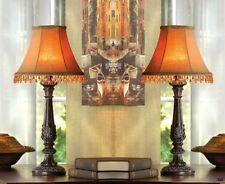 Set of 2 Moroccan Style Mahogany Base Lamps with Beaded Shades