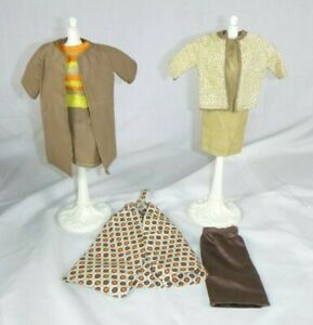 6 Pcs Vtg Barbie Clone Handmade Cut n Sew Outfits Brown Orange CUTE!