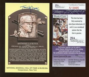 Yellow Hall of Fame Plaque Autographed Tony LaRussa JSA Cert