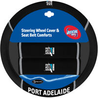 AFL Steering Wheel Cover - Seat Belt Covers - Port Adelaide Power Universal Fit