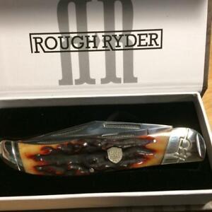 """Rough Ryder Brown Stag Bone Folding Hunter 5 1/4"""" Pocket Knife  RR1804"""
