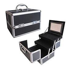 """Black 10"""" Aluminum Makeup Artist Organizer 2 Extendable Trays Lock Key Mirror"""