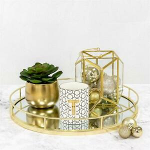Round Gold mirror candle tray plate wedding table decorative mirror tray 40 CM