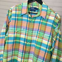 Polo Ralph Lauren Western Shirt L/S Plaid Cotton Regular Fit Men's Size L