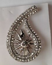 large paisley and flower diamante brooch