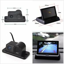 "Car Reverse Parking Camera With Radar Sensor 4.3"" Foldable LCD Rear View Monitor"