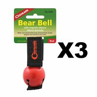Coghlan's Bear Bell Red w/Magnetic Silencer & Loop Strap Warns Animals (3-Pack)