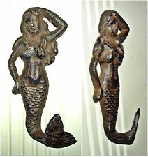 MYTHICAL MERMAID Antiqued Cast Iron WALL HOOK  ~ Nautical Fantasy ~  Rust