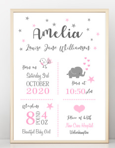 New Baby Gift, Birth Details, Name Print, Poster  A4 PR106