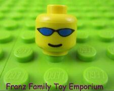 LEGO Minifigure Yellow HEAD Blue Wrap Sunglasses Smile Body Part #H68