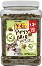Cat Food Friskies Party Mix Natural Yums Adult Cat Treats - 30 oz. Canister