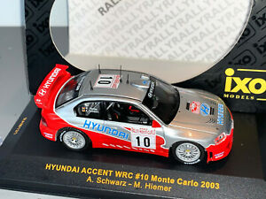 RALLY 1/43 IXO HYUNDAI ACCENT WRC #10 ARMIN SCHWARZ MONTE CARLO 2003 SOLD OUT