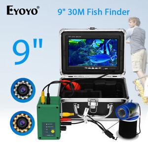 "9"" LCD Monitor 30M Fishfinder Underwater Fishing Camera 15 white LED + 15 IR LED"