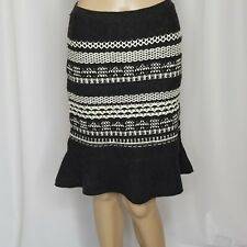Anthropologie Moth black white wool cotton sweater knit trumpet skirt Small