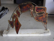 """Unique Metal on Marble Art Abstract Desk Statue Rosenthal 91 Signed 8 1/2"""" Tall"""