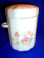 COLLECTIBLE - UNIQUE, F.T.D.A.SEALED FLORAL CANISTER WITH LID, MADE IN TAIWAN