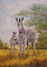 Original Gemälde handgemalt A. Heins Wild Zebra Malerei Ocker 103x73x2,8 cm A0OU