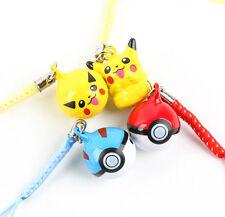 Pikachu 10 pcs cartoon Pokemon go bell Mobile phone chain pendant kids toy B-01