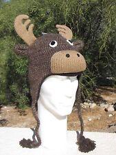MOOSE HAT antlers knit Christmas REINDEER decoy animal ski cap costume ADULT