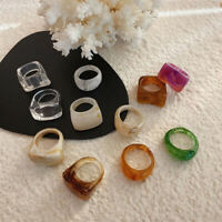 2Pcs Women's Vintage Retro Resin Ring Acrylic Foil Ring Party Jewelry One Size