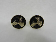 Ford Model T Cufflinks Gold Tone Over Black Round 1 inch Diameter Unmarked