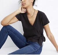 New Madewell Texture & Thread L wrap Tie Top Shirt True Black short sleeve NWT