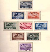 REPUBBLICA: 1945-1955 POSTA AEREA DEMOCRATICA, 2 SERIE COMPLETE, 9 VALORI USATI