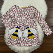Mini Boden Girls Youth Size 7 / 8 Y Floral Applique Bee Pocket Tunic Top Shirt