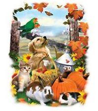 Fall Leaves & Animals on T-Shirt, Pumpkin, Parakeet, Cats, Dogs, Bunny - Sm - 5X